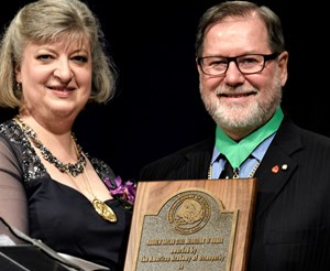 Dr. Feely (right) received the A.T. Still Medallion of Honor in 2019.