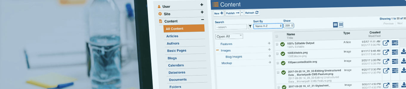 Marketpath CMS in use for content management of a website