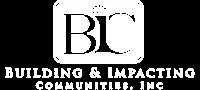 Building & Impacting Communities logo in white