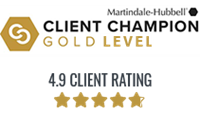 4.9 Rating means Carlock Legal is a Gold Client Champion recipient