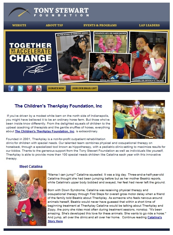 TherAplay in the Tony Stewart Foundation newsletter