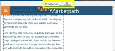 Live Preview Display Options in Marketpath CMS