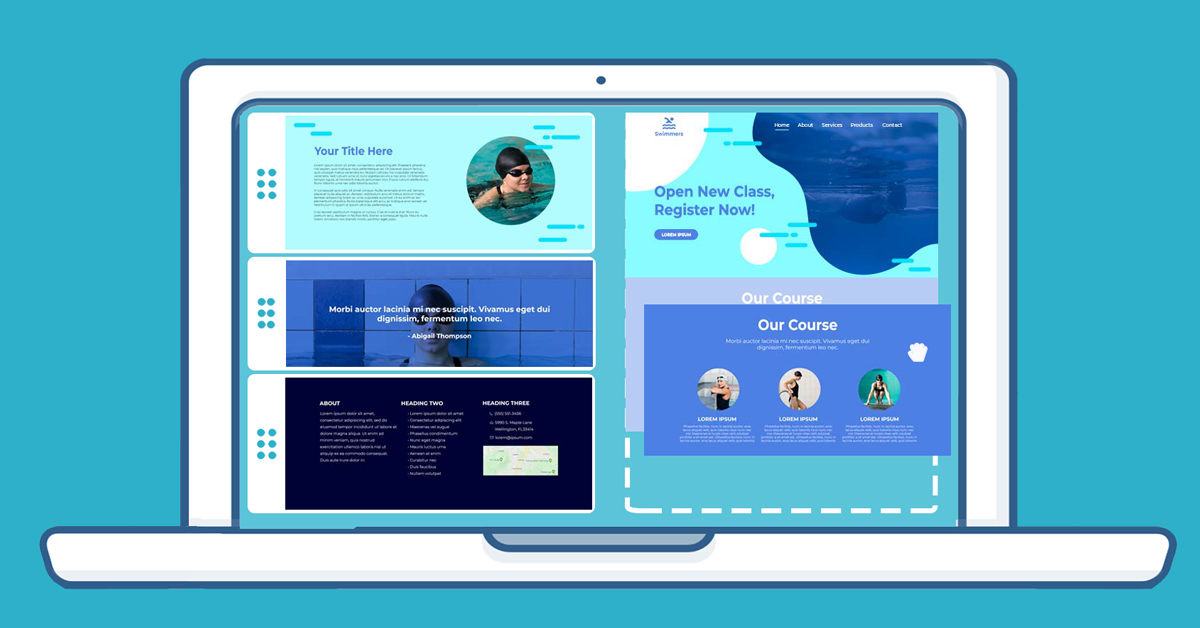 Creating a website using a visual editor website builder has its drawbacks (images adapted from freepik.com)