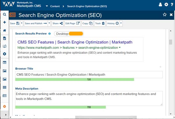 Marketpath CMS' SEO feature displays the Browser Title and Meta Description
