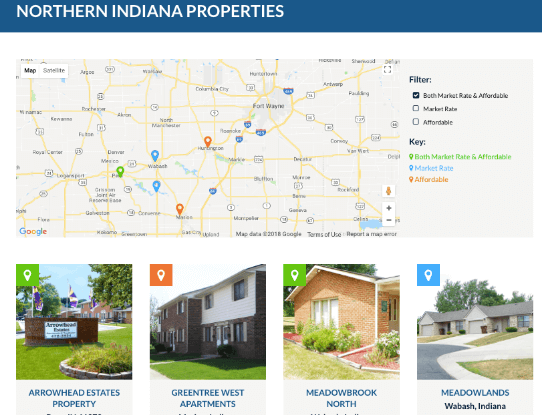 Example of a landing page for Properties using Marketpath CMS' Datastores