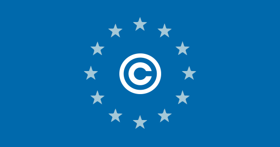 EU Copyright Reform Law - copyright symbol imposed on the flag of Europe