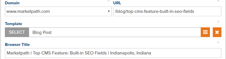 Marketpath CMS Screenshot - Page fields include URL, Title Tag, and Template
