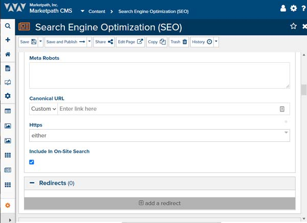 Marketpath CMS' SEO feature allows users to update robots meta tags, add canonical links, and configure redirects