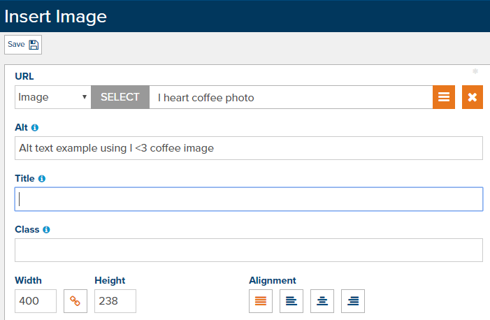 Marketpath CMS Screenshot - Insert Image features the ability to edit the Alt text for SEO