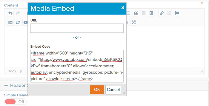 Video Embed dialog within Marketpath CMS