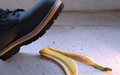 A foot able to step on a banana