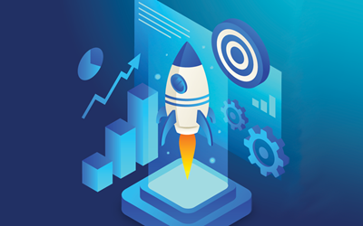 Rocket launching in front of website with graphs going upwards and a target