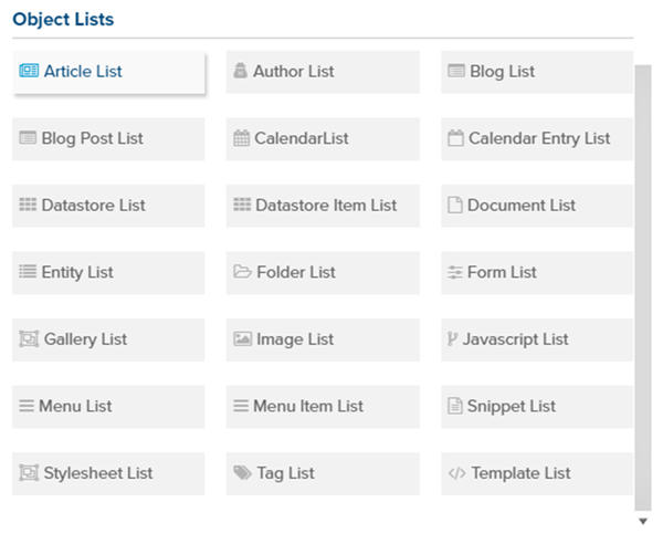 Built-in object lists in Marketpath CMS
