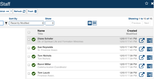 Example of Staff in a Datastore in Marketpath CMS
