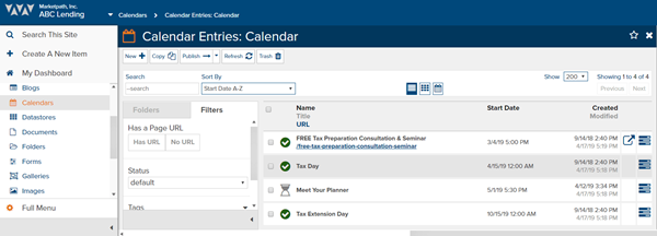 Schedule Calendar Events in Marketpath CMS