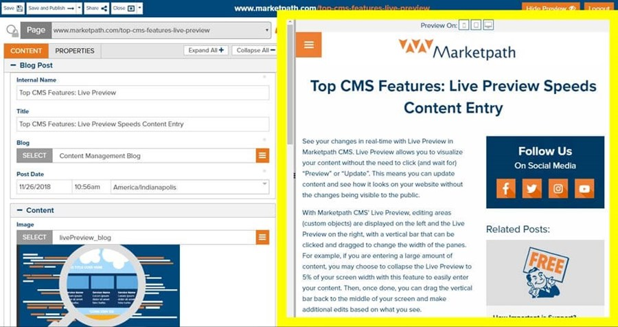 Live Preview Feature | Marketpath CMS