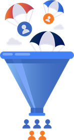 Parachutes landing in a funnel to create leads through marketing automation