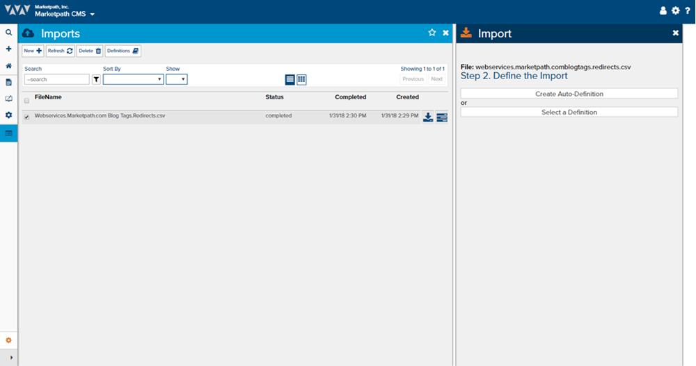 Import Wizard in Marketpath CMS