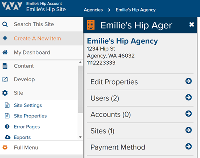 Agency Management Screen | Marketpath CMS