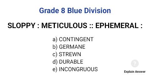 Grade 8 Blue Division Analogies
