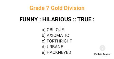Grade 7 Gold Division Analogies