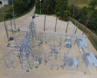 Aerial view of St Mary's, Ohio Municipal Utilities Substation