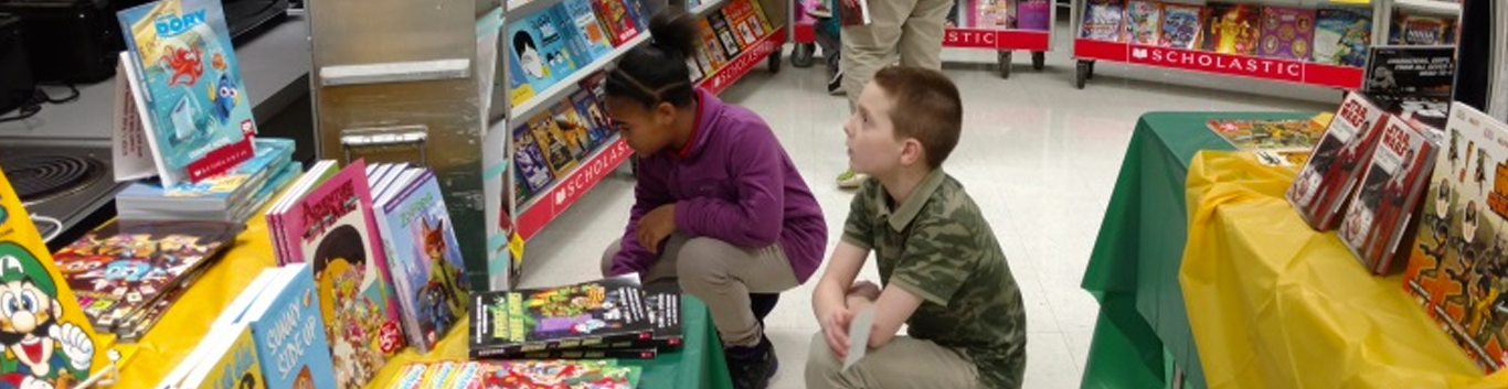 students at a book fair