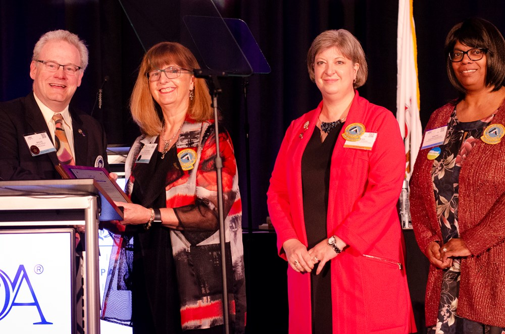 2018-19 AAO President Catherine M. Kimball, DO; 2018-19 President-elect Kendi L. Hensel, DO, PhD, FAAO; and AAO Executive Director Sherri L. Quarles accepted the STAR award on behalf of the AAO.