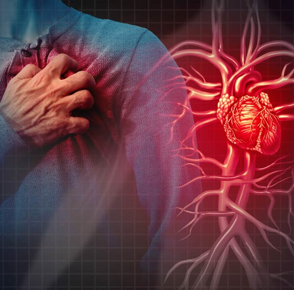 heart attack and heart illustration