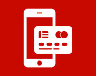 White digital mobile wallet icon on a red background