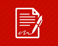 White contract with a pen and a signature (icon) on a red background
