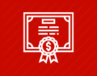 White certificate icon on a red background