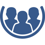 Blue icon of 3 people together on a white background