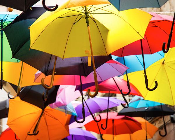 Umbrellas in assorted colors