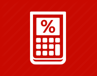 White calculator icon on a red background