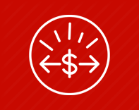 White gauge with a dollar symbol (icon) on a red background