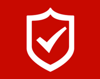 White check mark inside a shield (icon) on a red background
