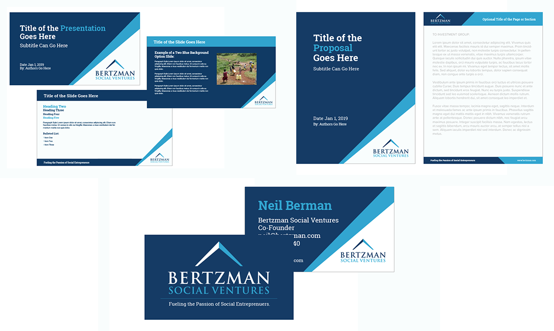 Image of Business Card, Word, and Powerpoint template design for Bertzman Social Ventures