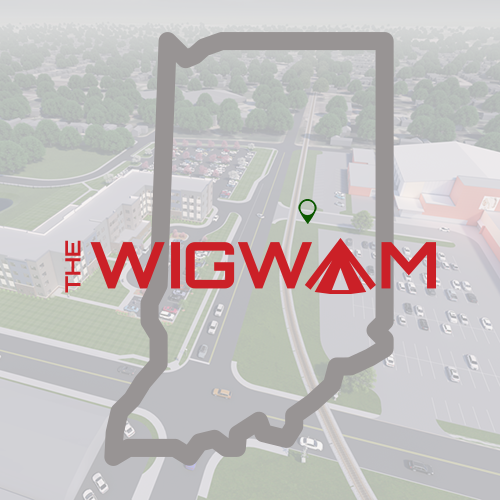 Outline of Indiana with marker on the Wigwam Complex in Anderson, Indiana - an Opportunity Zone