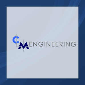 C M Engineering's logo on a blue background that matches their new website