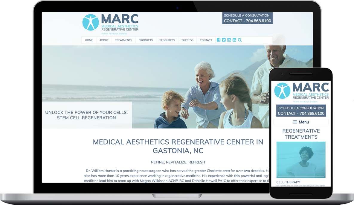 Medical Aesthetics Regenerative Center Website Design and Development Project