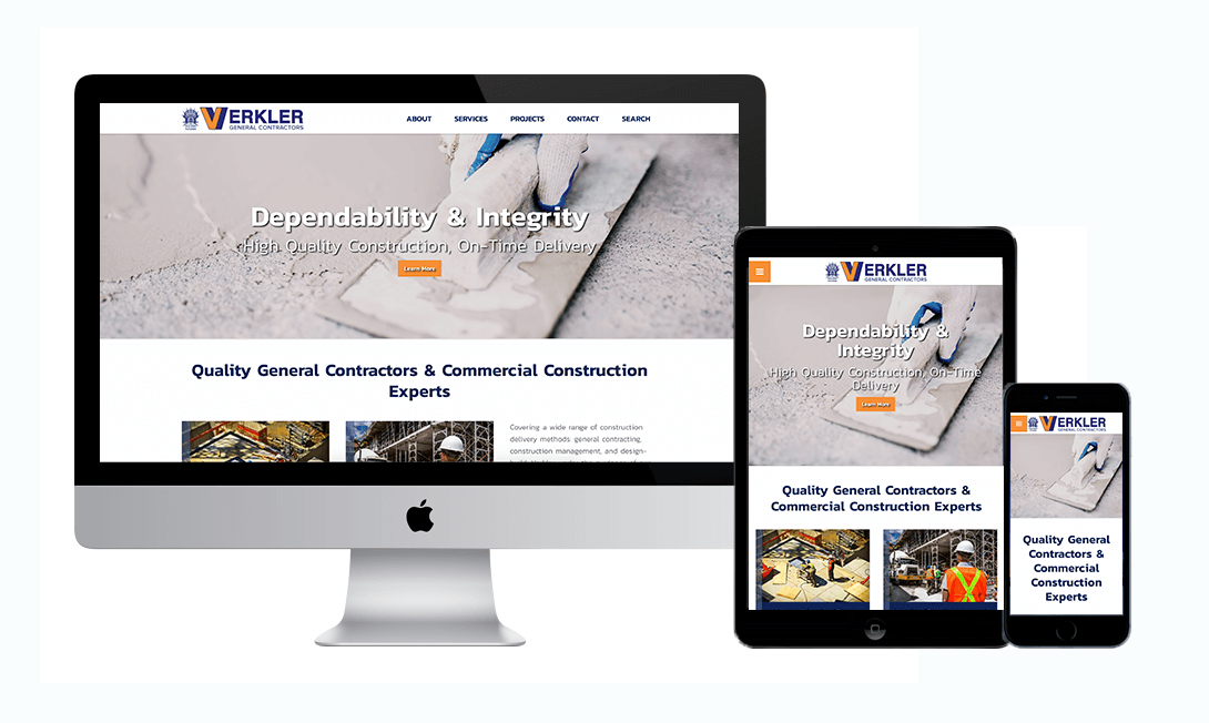 Mockup of Verkler Construction's Website in tablet, desktop, and mobile versions