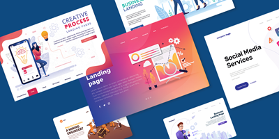 "Landing pages (source: <a href=""https://www.freepik.com""></a>"