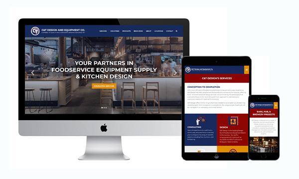 Mockup of C&T Design's Website as a Desktop, Tablet, and Phone version