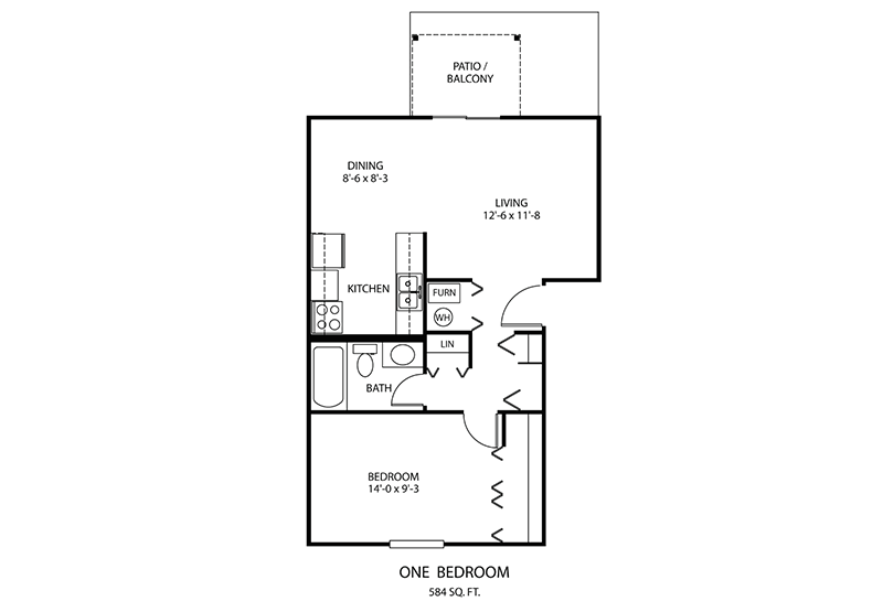 1 BDR Floorplan | Windridge Apartments | Madison, Indiana