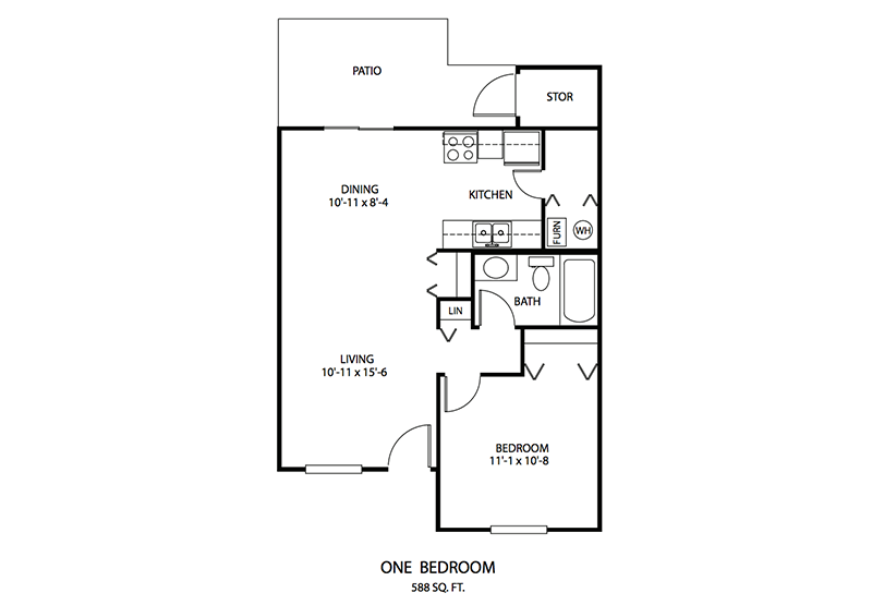 1 BDR Floor plan, Cedar Run Apartments   Brownsburg, Indiana