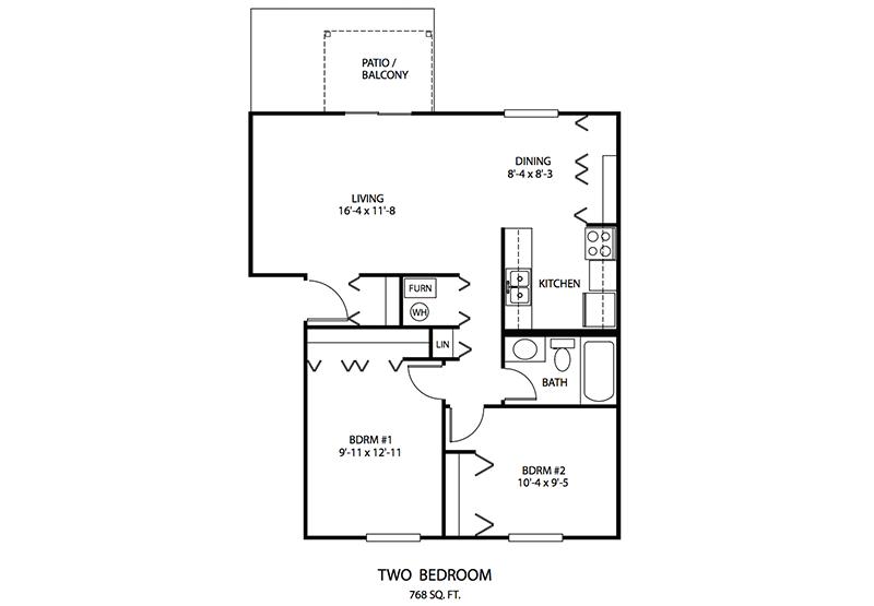 2 BDR Floor plan, Cedar Run Apartments   Brownsburg, Indiana