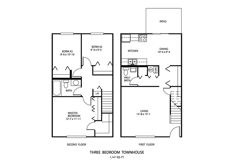 3 BDR Townhouse Floor plan, Cedar Run Apartments   Brownsburg, Indiana