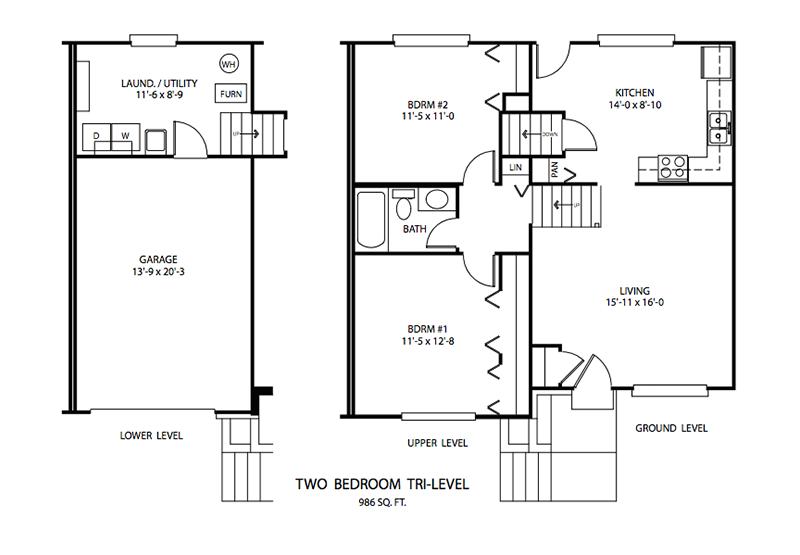 2 BDR Tri-level Floor plan, Cedar Run Apartments   Brownsburg, Indiana
