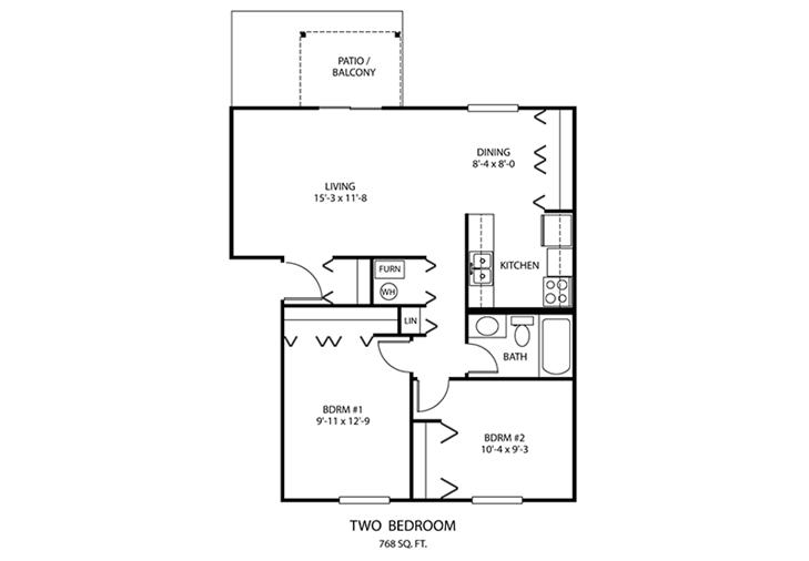 2 BDR Floorplan | Windridge Apartments | Madison, Indiana